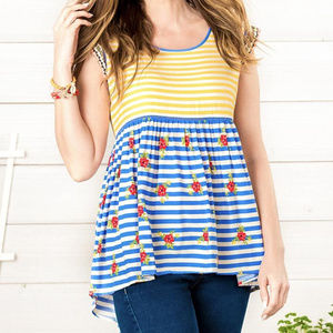 Matilda Jane Women Blue Yellow Babydoll Blouse Top